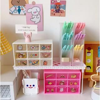 <<<Rẻ thật Rẻ>>> Kệ Mỹ phẩm - Hộp 9 ngăn kéochống bụi lưu trữ để bàn văn phòng phẩm trang sức/vòng tay/mỹ phẩm