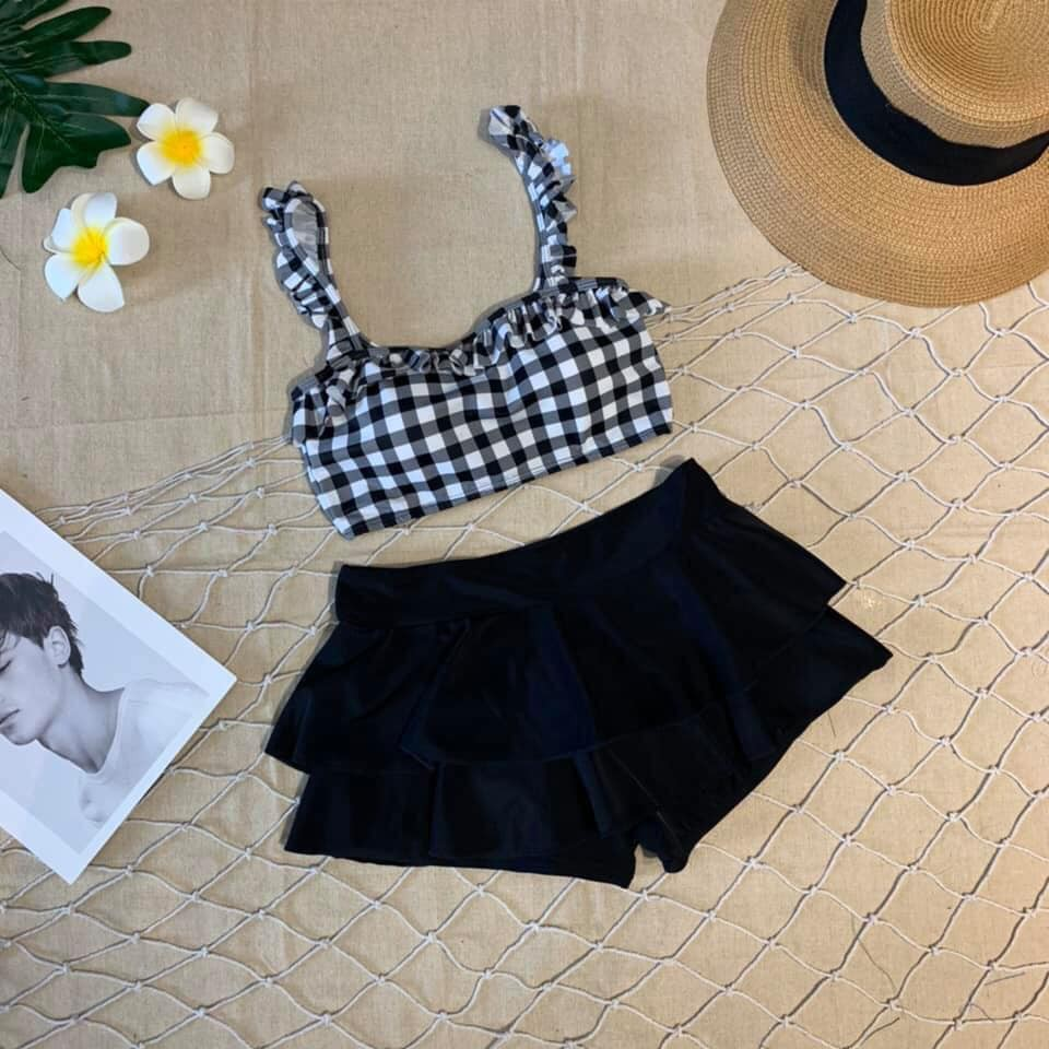 Bikini hai mảnh caro chất thun mặc đi biển đi bơi
