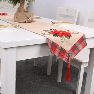 Red flower linen table runner tablecloth Christmas decorations C7G3