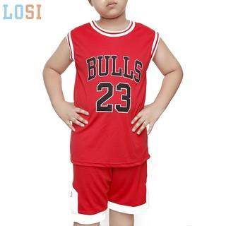 Bộ đồ bóng rổ cho bé trai, bộ quần áo bóng rổ trẻ em thun mè thoáng mát – LOSI BRBULL – Mẫu mới hè 2020