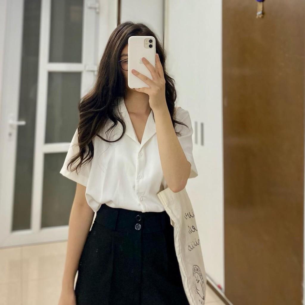 [Mã WASKT304 giảm 15% tối đa 30K đơn 99K] Áo sơ mi ngắn tay cổ Vest vải lụa mềm mại