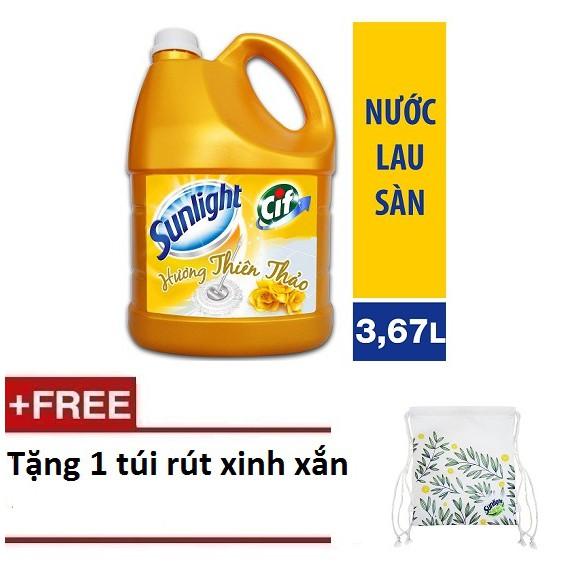 [Quà] Nước lau sàn Sunlight Hương Thiên Thảo chai 3.8kg (MSP 67125180) + Tặng 1 túi rút xinh xắn