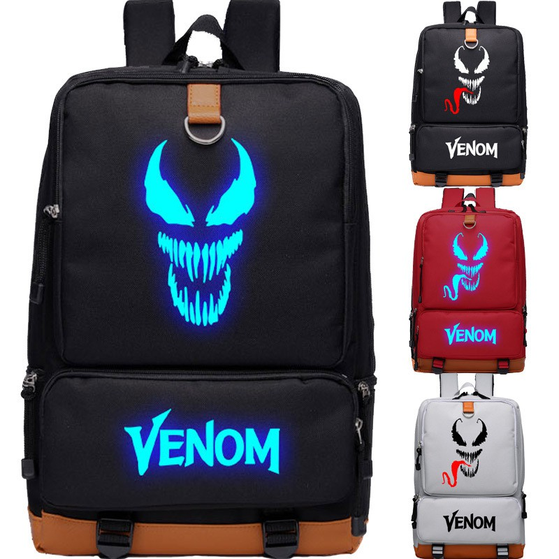 Luminous venom school bag male and female pupils Spider-man backpack movie deadly guardian computer backpack