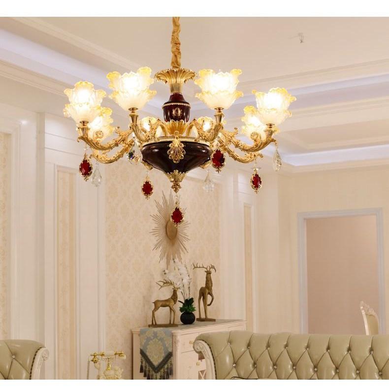 Đèn chùm MONSKY IRELIA trang trí nội thất phong cách Châu Âu hiện đại loại 6 tay - Tặng kèm bóng LED cao cấp