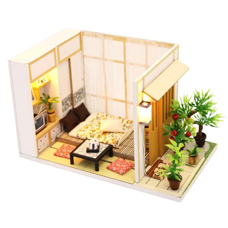 mô hình lắp ráp DIY bằng gỗ tinh tế dễ thương, đồ chơi trẻ em nhà búp bê giường ngủ tặng kèm đèn pin và S902