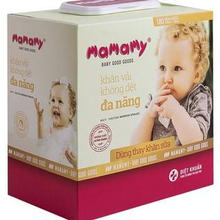 Khăn giấy khô đa năng Mamamy 180 tờ, tặng 1 gói khăn ướt Luck Lady 10 tờ