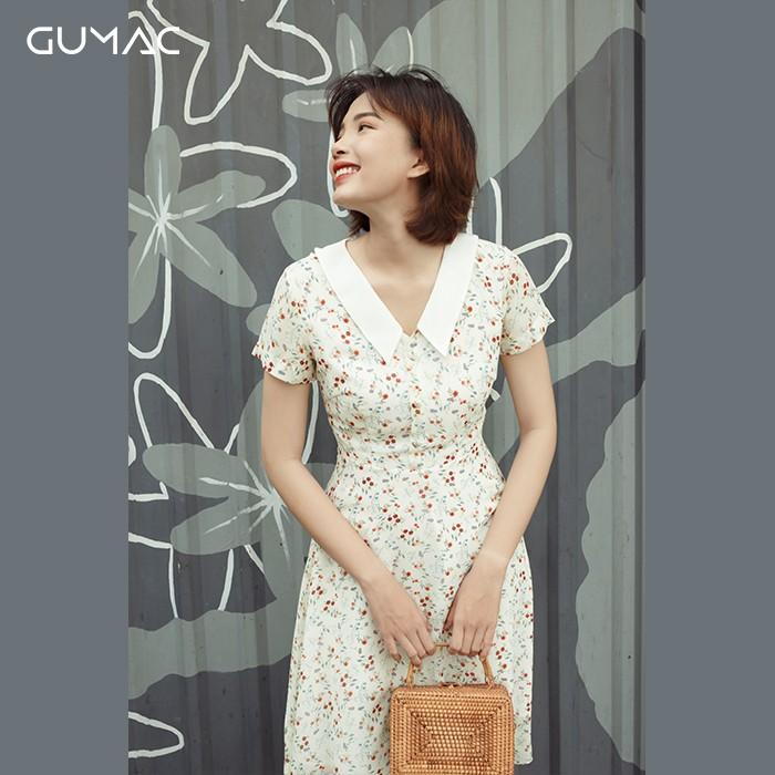 Đầm hoa lá cổ trắng GUMAC DA9116_KEM