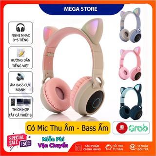 Tai Nghe Chụp Tai Mèo Bluetooth, Headphone Tai Mèo Dễ Thương Có Mic,Âm Bass Mạnh Mẽ Và Dung Lượng Pin KhủngBH 12 Tháng thumbnail