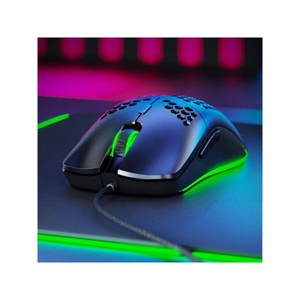 Chuột chơi game inphic W10 với vỏ tổ ong trọng lượng nhẹ cảm biến quang học Pixart 3325 đèn nền RGB 7 nút