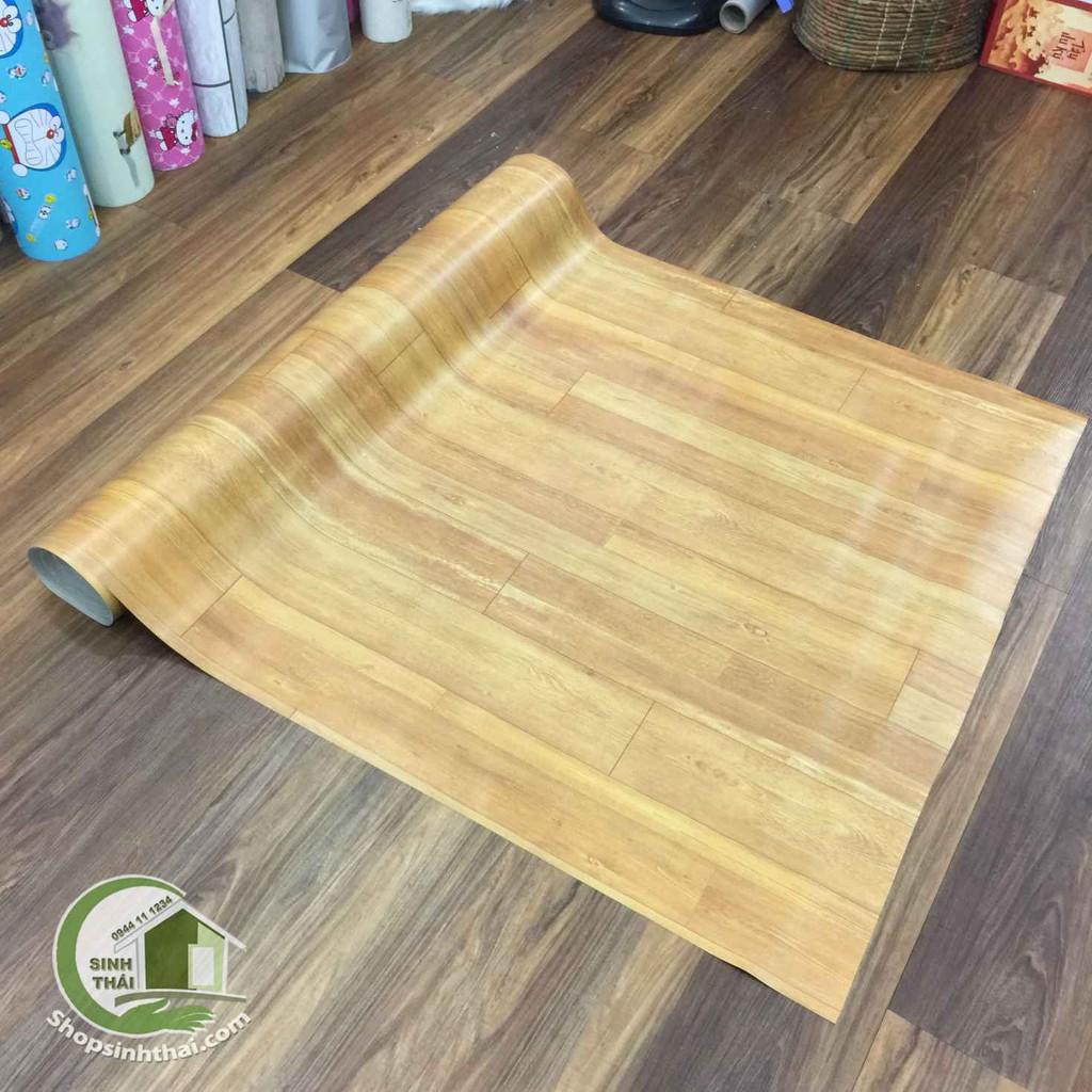 Thảm nhựa trải sàn vân gỗ nhám màu vàng, siêu chịu nước, chống mối mọt