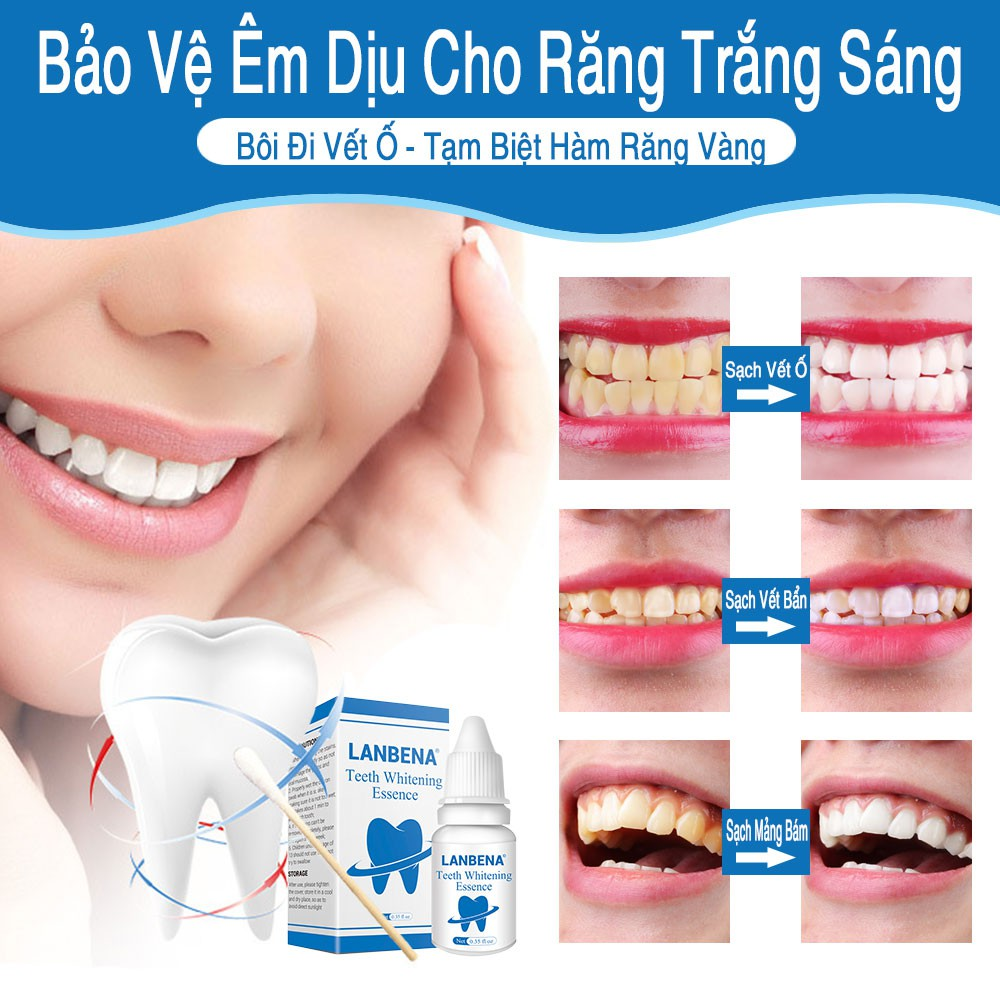 [ CHÍNH HÃNG ] Tinh Chất Tẩy Trắng Răng LANBENA TRẮNG RĂNG Làm Sạch Răng Teeth Clean Whitening Essence 10ml