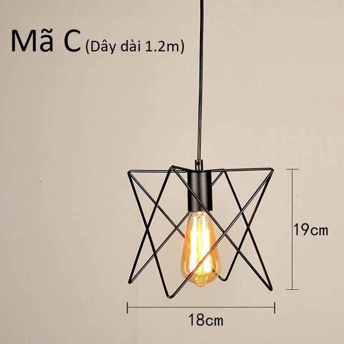 Đèn thả khung sắt nghệ thuật, đèn thả bàn ăn TSCB (gồm bóng)