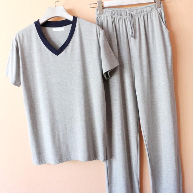 Có thể mặc bên ngoài nhà nam phương thức cổ chữ V ngắn tay áo phông quần dài bộ đồ ngủ rộng rãigr