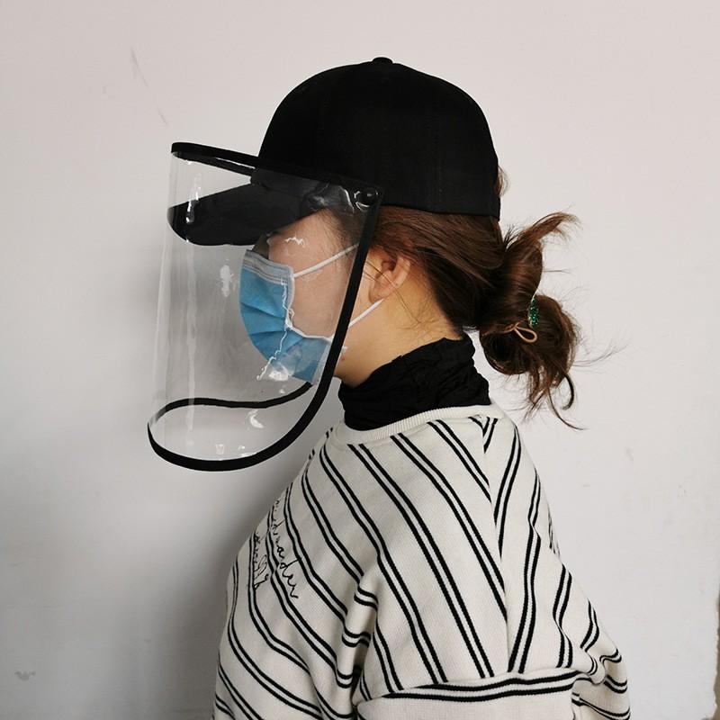 Mũ lưỡi trai kèm mặt nạ dạng bấm, chống giọt bắn, chống bụi cho người lớn, ngăn ngừa vi khuẩn, virus, phòng dịch bệnh