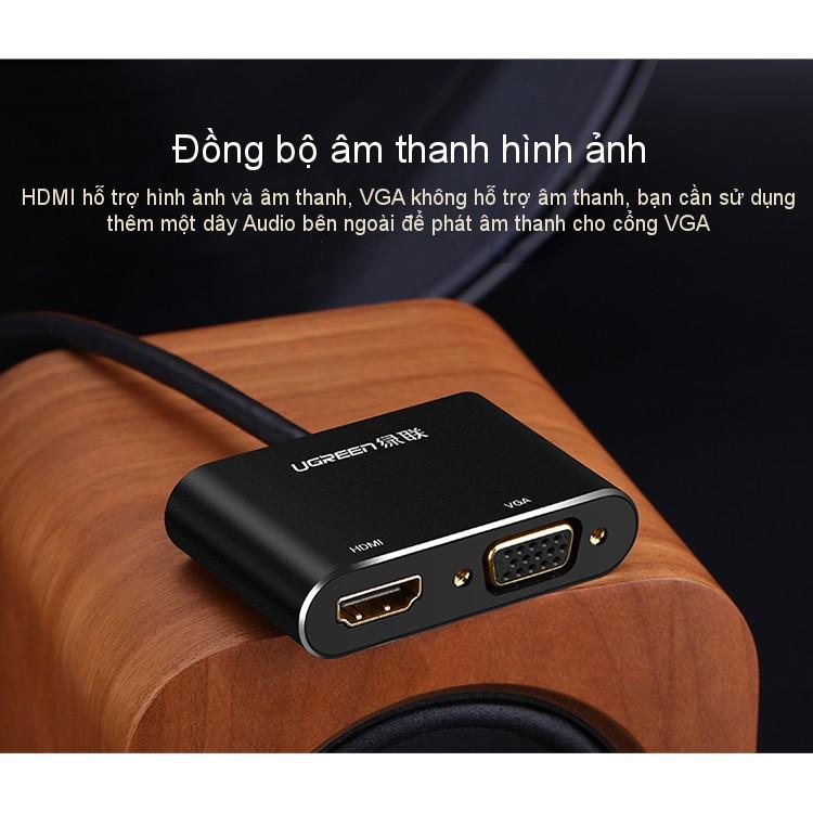 Cáp chuyển đổi Mini DisplayPort sang HDMI và VGA dài 20cm UGREEN MD115