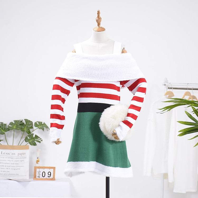 1.2 kg A@18 2019 striped suspender sweater dress [] C new casual foreign gas