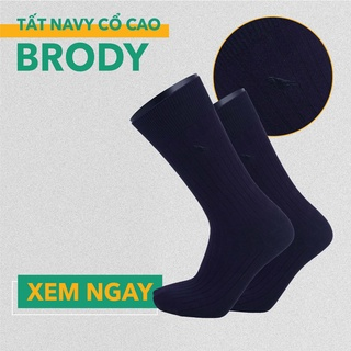 Tất Vớ Nam Cổ Cao – Combed Cotton Cao Cấp – Màu Xanh Navy – Brody