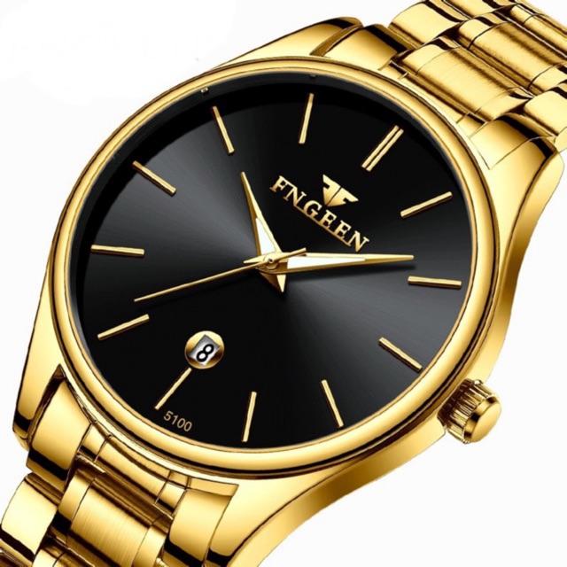 Đồng hồ nam FNGEEN G5100 lịch ngày sang trọng, đồng hồ thạch anh siêu mỏng chống thấm nước dây thép không gỉ cao cấp