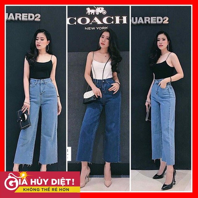 [Mã WASEPRN hoàn 20% xu đơn 99k] Quần Jeans Ống Rộng Lưng Cao MS050
