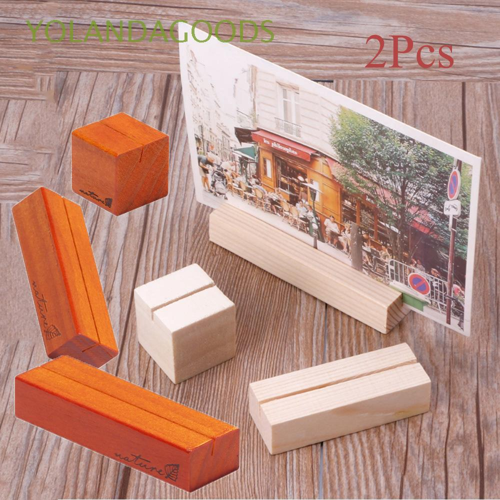 Set 2 đế gỗ gắn danh thiếp, đồ trang trí