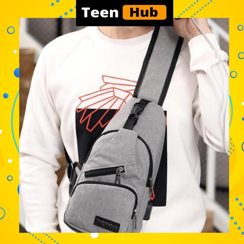 Túi đeo chéo nam 💙 FREESHIP 💙 Mã giảm giá 10k 💙 Túi chéo nhiều ngăn tiện lợi, cổng sạc USB kết nối với pin dự phòng