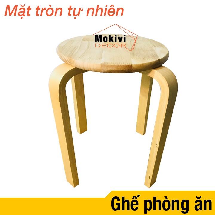 Ghế gỗ mặt tròn chân dẹp (Tự Nhiên)