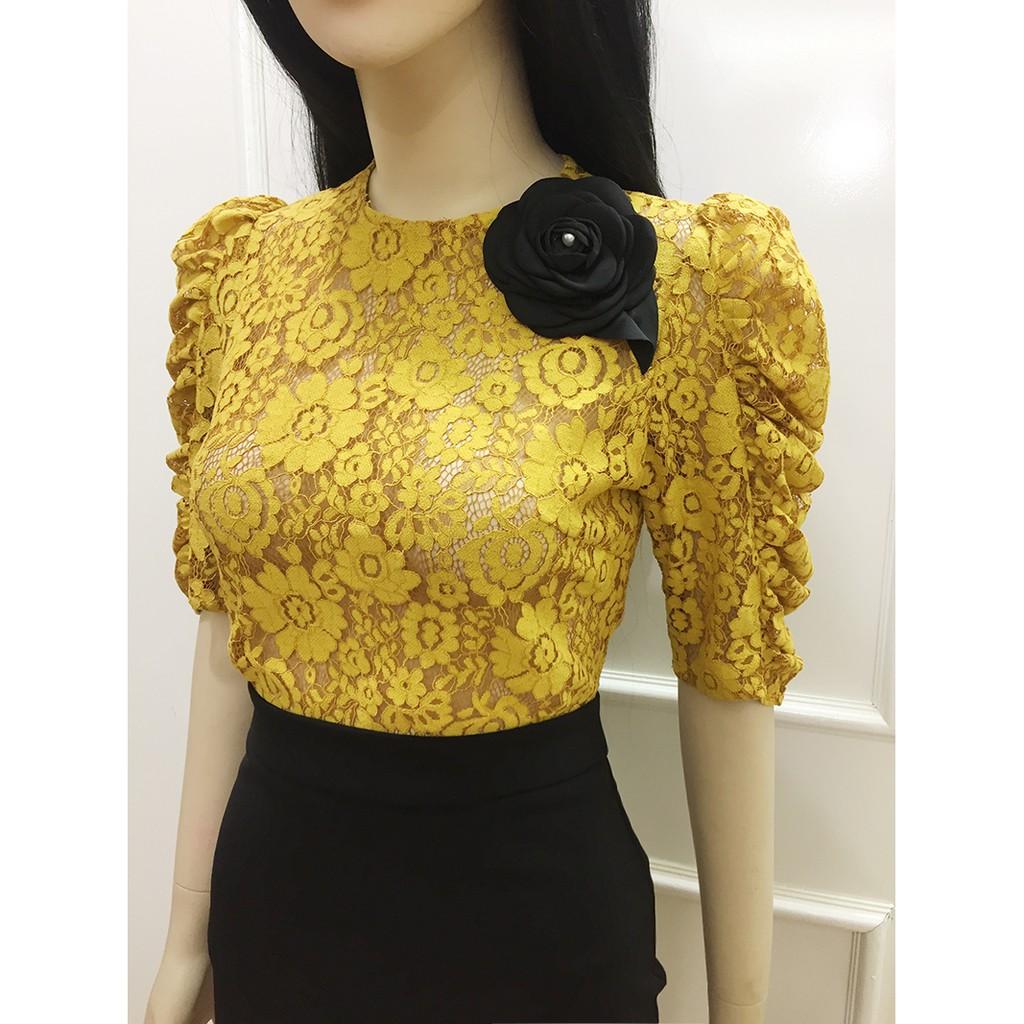 Mặc gì đẹp: Xinh xinh với Áo ren màu vàng💖Freeship💖Có Clip - Áo ren tay lửng dự tiệc