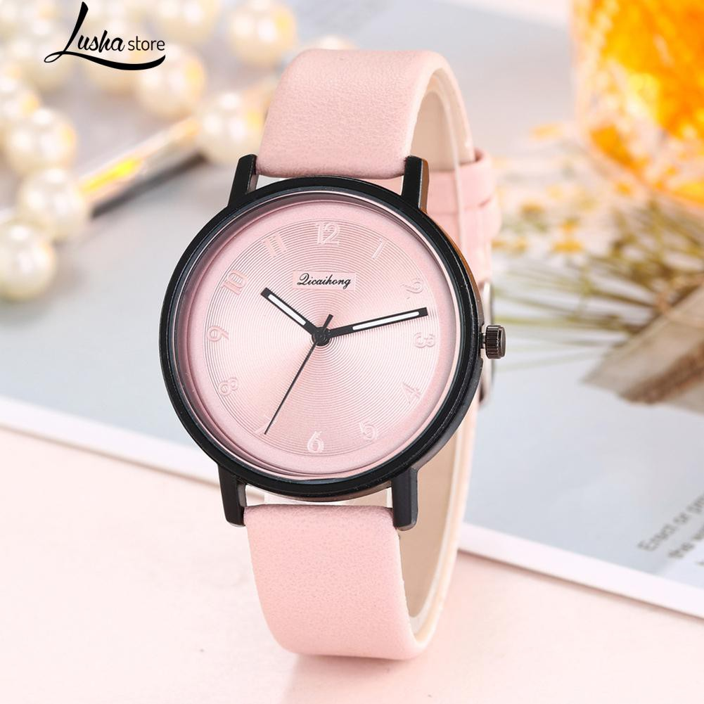 Causal Lady Numbers  Faux Leather Band Analog Quartz Watch