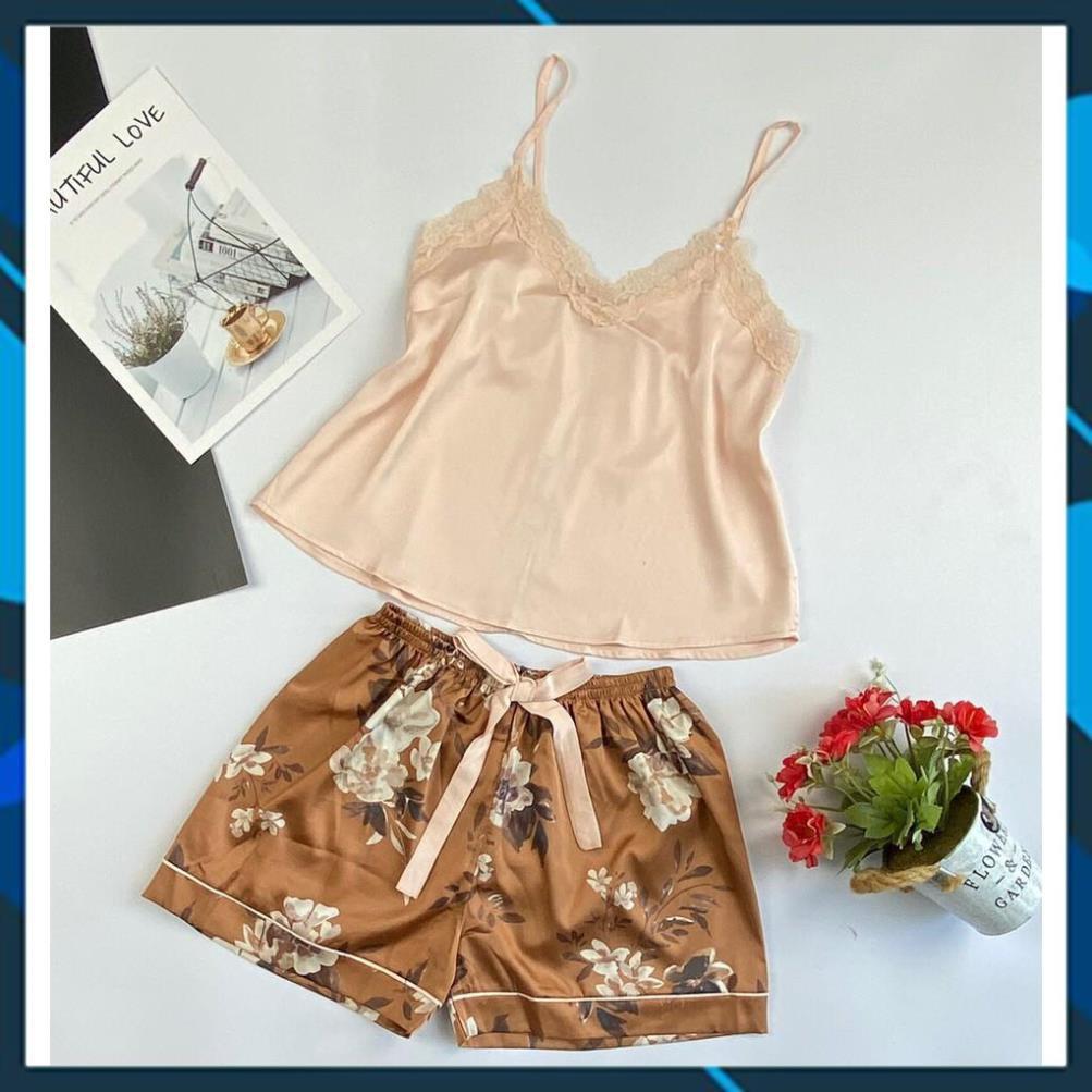 Đồ ngủ nữ chất lụa ⚡HÀNG HOT⚡vài cao cấp, áo 2 dây, quần short lưng thun, chất đẹp, mềm mát, ít nhăn, hỗ trợ đổi trả .