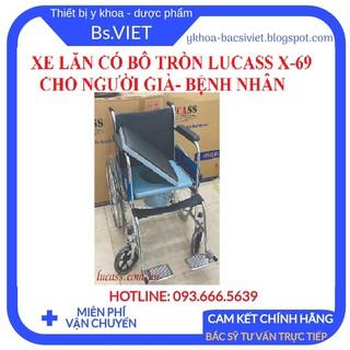 Xe lăn tay có bô tròn LUCASS X-69- Xe lăn cao cấp có bô vệ sinh, khung xe chắc chắn cho người già, bệnh nhân đi lại dễ thumbnail