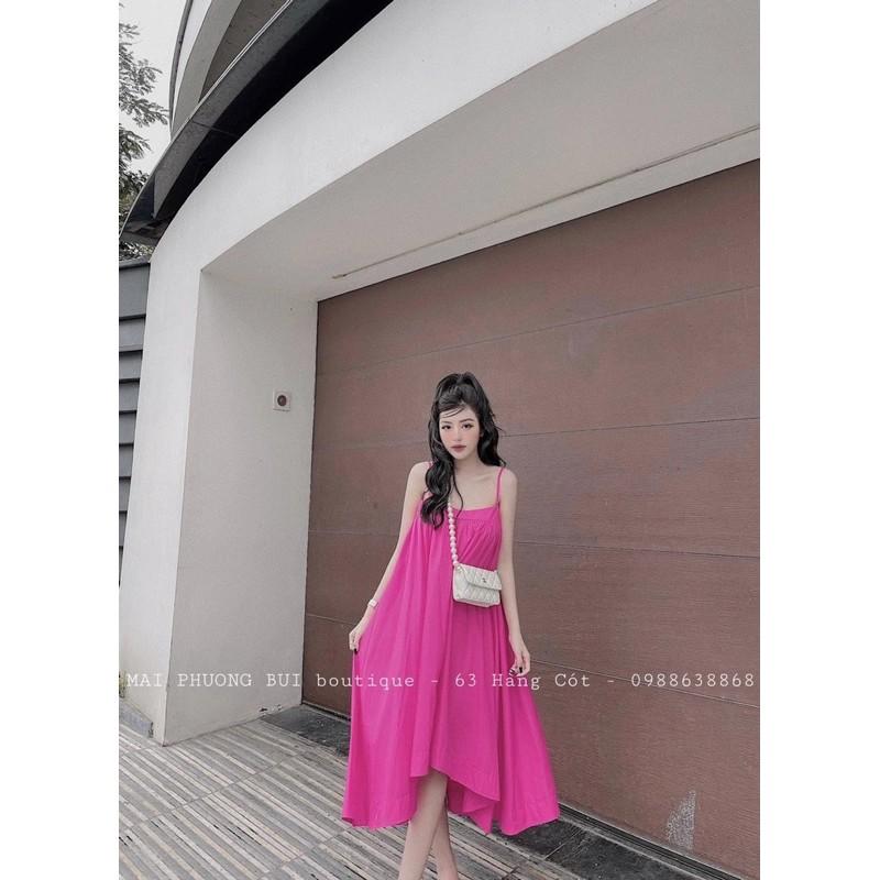 Đầm Nữ Xòe Hai Dây Vải Đũi Lụa Dáng Form Dài Đa Dạng Màu Sắc ( bầu mặc thoải mái )