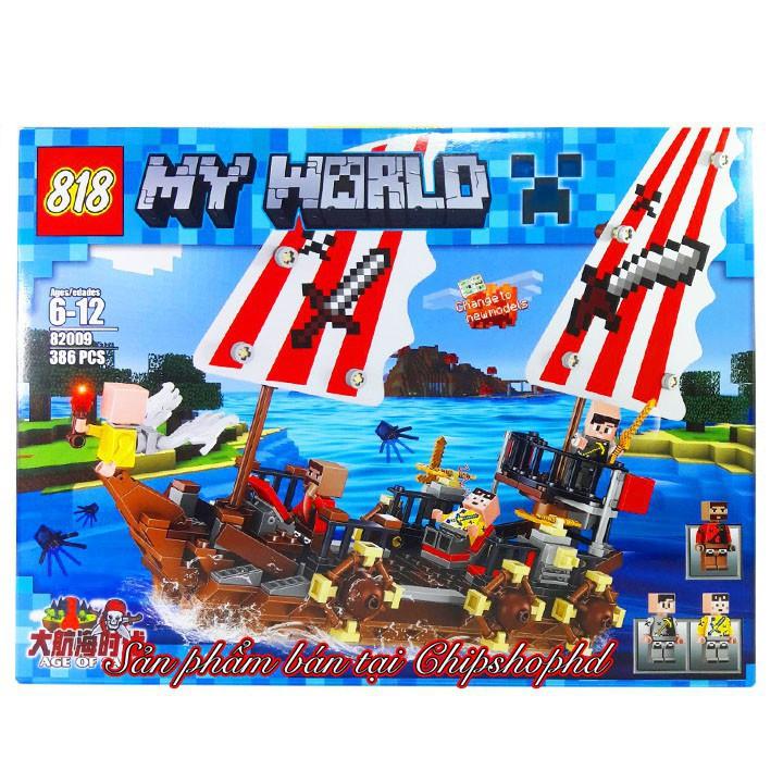 Bộ Lego Lắp Ráp Tàu Hải Tặc. Có 386 Chi Tiết. Lego Xếp Hình Đồ Chơi Cho Bé
