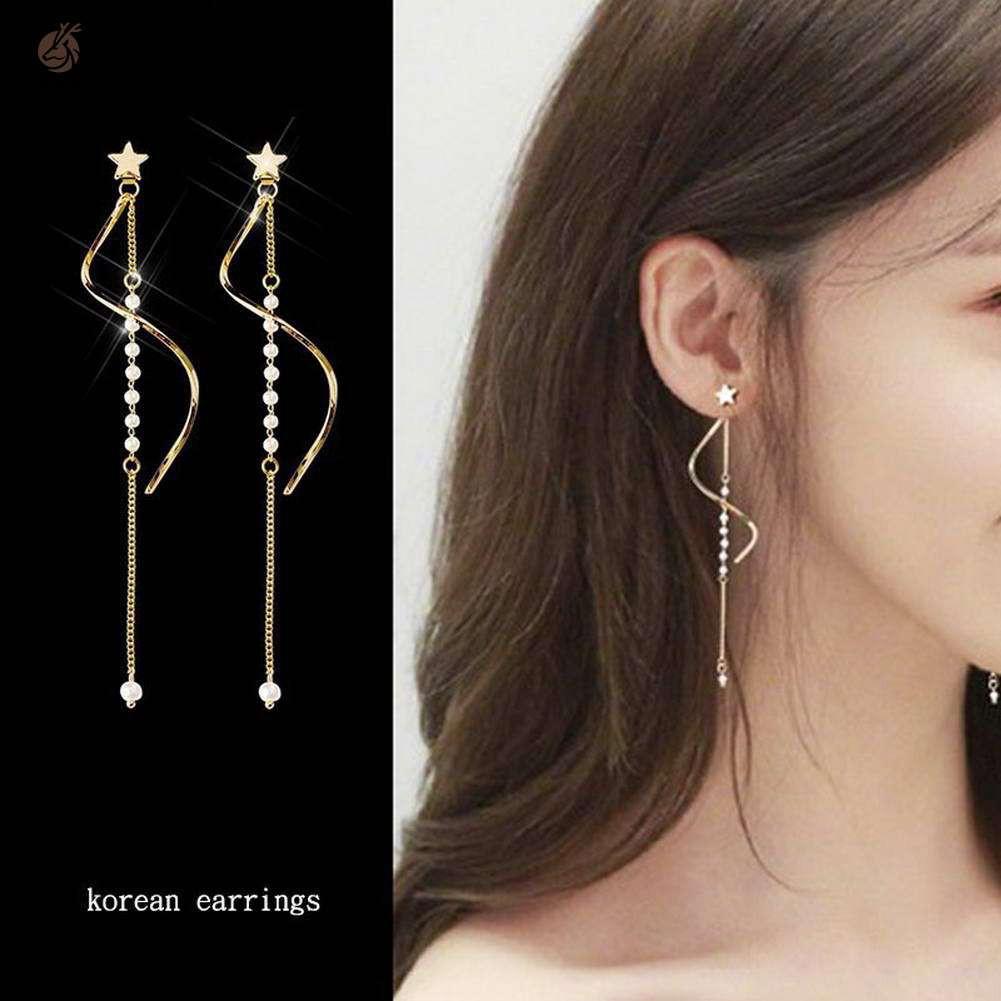 Stud Earrings for Women Stylish Star Tassel Long Ear Clips Accessories Jewelry