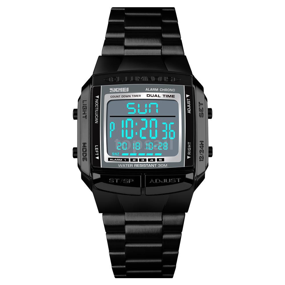 TOPVN  SKMEI 1381 Men Analog Digital Watch Fashion Casual Sports Wristwatch 2 Time 5 Alarm 3ATM Wate