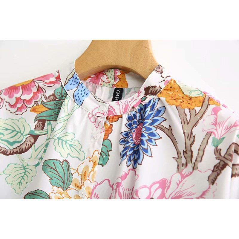 Fashion new spot quality awesome early autumn Chinese style bright floral print loose blouse long-sleeved air-condition