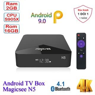 Yêu ThíchAndroid Tivi Box Magicsee N5 - Android 9.0 - Chip S905X - Ram 2GB - Rom 16GB - Xem phim 4K