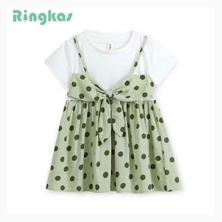 Ringkas đầm bé gái đầm chấm bi váy bé gái đầm công chúa cho bé gá hai chiếc váy giả