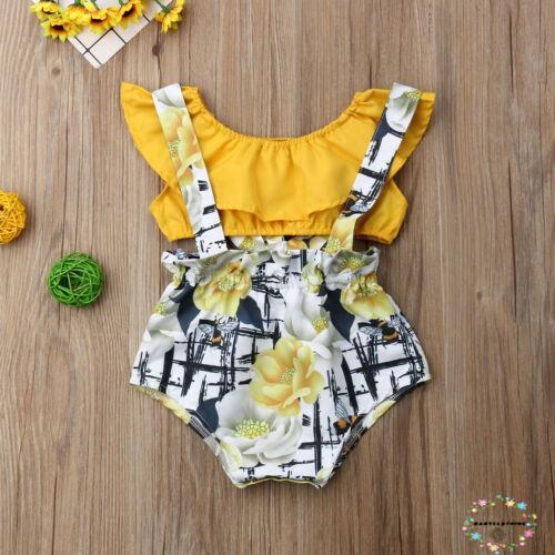 Set áo và quần yếm họa tiết hoa xinh xắn dành cho bé gái từ 3-18 tháng tuổi