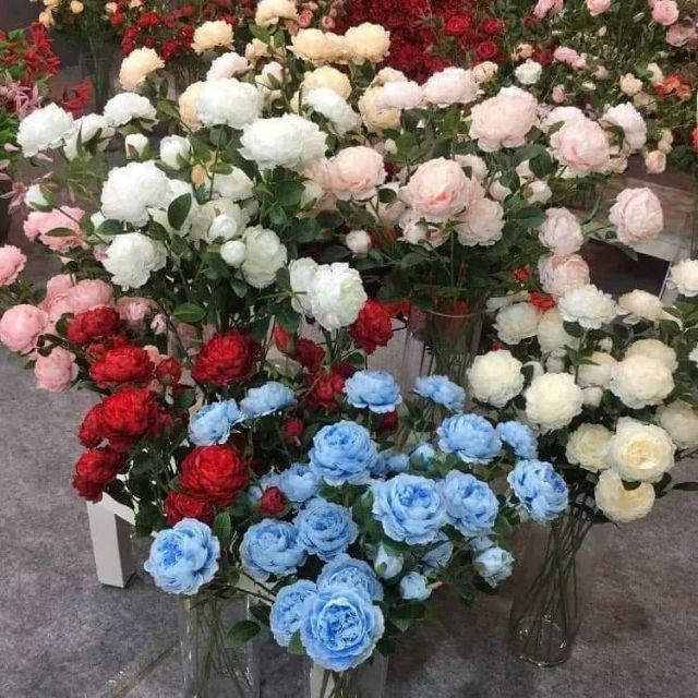 Hoa hồng lụa 1 cành 2 bông 1 nụ lung linh ngày tết tranh trí nhà cửa