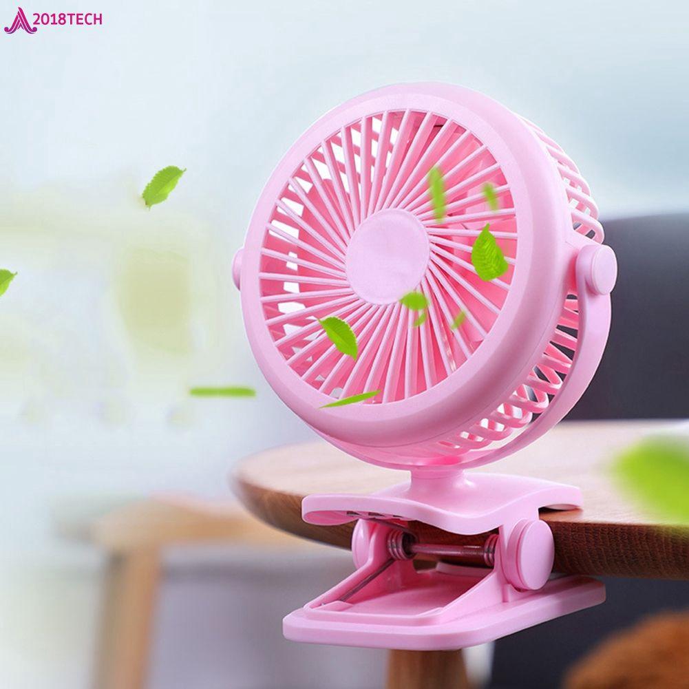 Portable 360 Degree Rotation Clip Fan USB Electric Fan Rechargeable Folder Fan 2018Tech