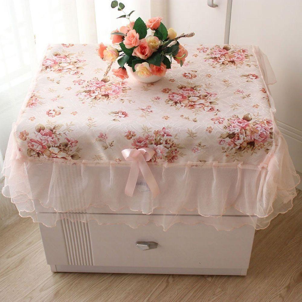 Khăn trải bàn hình chữ nhật họa tiết hoa viền ren màu hồng