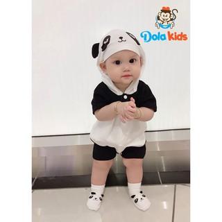 Body hình thú cho Bé hình Gấu Panda cotton ngắn tay có mũ bé từ 4-15kg