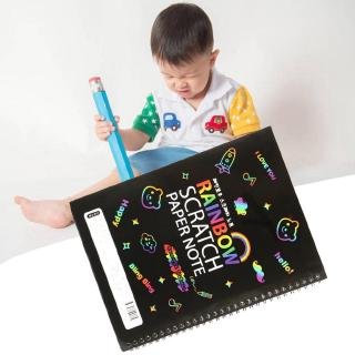 Large Magic Color Rainbow Scratch Art Paper Note book Fully Drawing Colors Painting Toy DIY L9R8