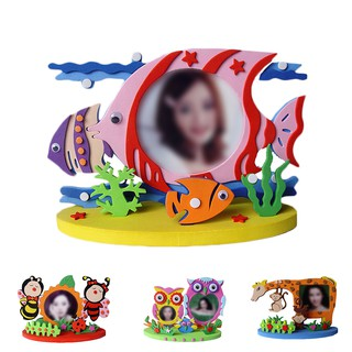 Children's DIY EVA Photo Frame Craft Set Toddler Baby Creative Puzzle Children's Toy Owl Dinosaur Fish