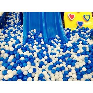 Set 10 quả bóng nhựa mềm 7cm màu trắng xanh vui nhộn cho bé