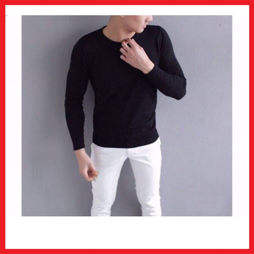 Áo len cổ tròn nam màu đen