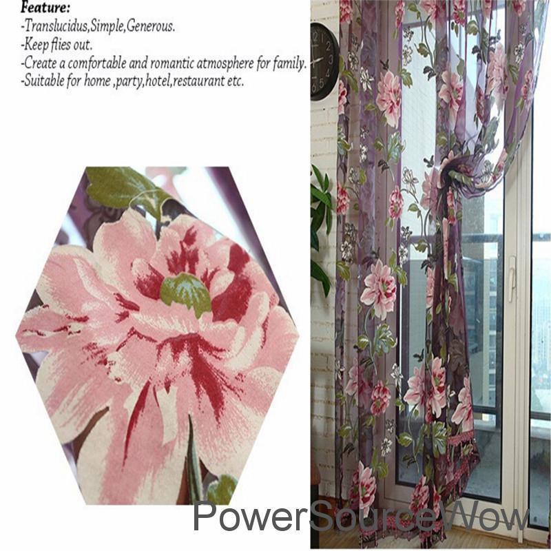 Rèm Cửa Hoa Mẫu Đơn 100x200cm, Rèm Cửa Sổ, Cửa Chính, Cửa Chính, Cửa Sổ My
