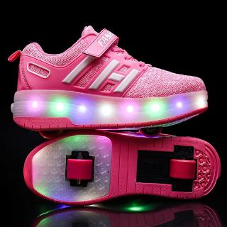 Kids Heelys Boys and Girls LED Double Wheel Shoes Roller