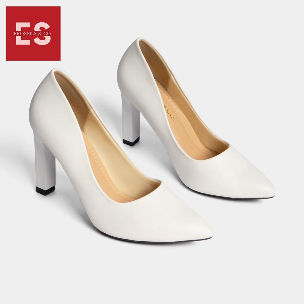 Giày cao gót Erosska thời trang mũi nhọn kiểu dáng cơ bản cao 10cm màu trắng _ EP008