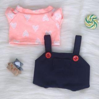 [outfit for doll] Set áo tim yếm nút đỏ